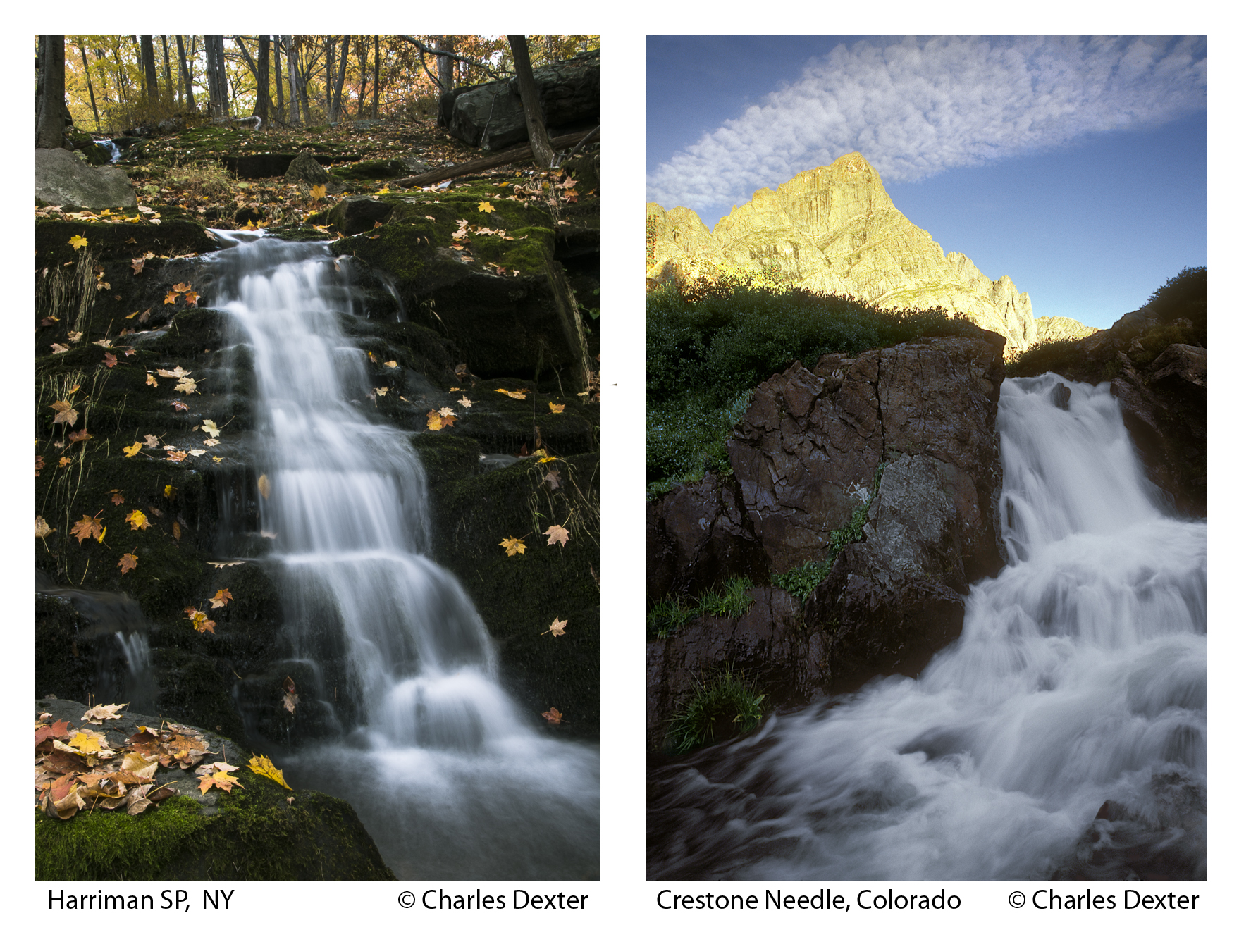 Two photos compared: Greenbrook Pond, New Jersey and La Plata Peak, Colorado ©Charles Dexter