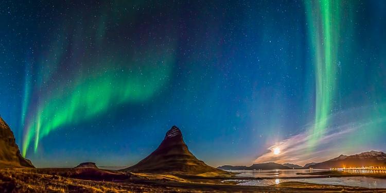 """Serendipity,"" aurora borealis near Mt. Kirkjufell, Iceland © David Francis"