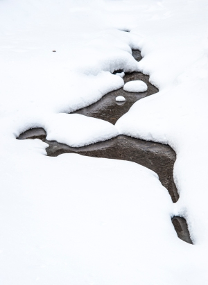 Winter Simplicity © Tom Dwyer, Photograph of snow and underlying water