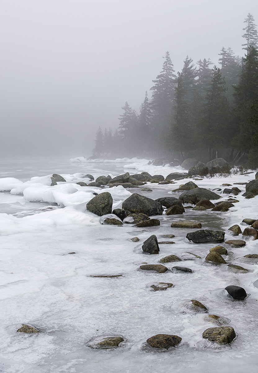 A winter fog overcomes Jordan Pond in Acadia National Park. © 2012 Chris Nicholson, www.PhotographingNationalParks.com