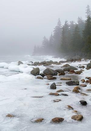 A winter fog overcomes Jordan Pond in Acadia National Park. © 2012 Chris Nicholson, www.PhotographingNationalParks.com