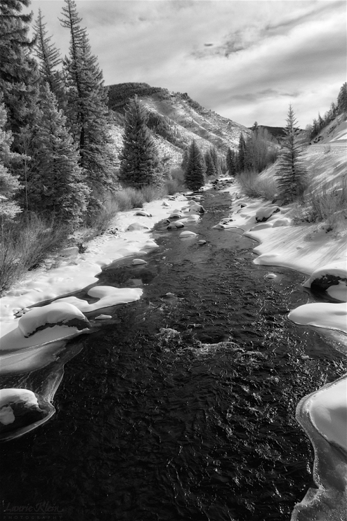 B&W Photo Rocky Mountains River and Snow © Laurie Klein
