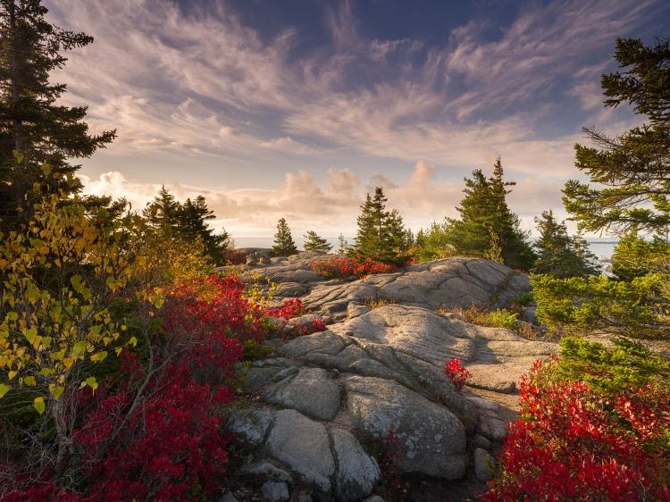 Autumn Daybreak, Gorham Mountain, Pentax 645Z, 28-45mm @ 28mm, 1/4 sec. at f/16, ISO 100, graduated ND filter, © 2021 Michael Hudson